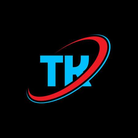 TK T K letter logo design. Initial letter TK linked circle uppercase monogram logo red and blue. TK logo, T K design. tk, t k