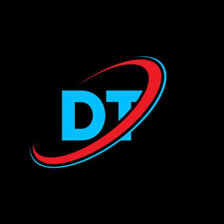 DT D T letter logo design. Initial letter DT linked circle uppercase monogram logo red and blue. DT logo, D T design. dt, d t