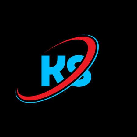 KS K S letter logo design. Initial letter KS linked circle uppercase monogram logo red and blue. KS logo, K S design. ks, k s Logó