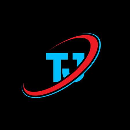 TJ T J letter logo design. Initial letter TJ linked circle uppercase monogram logo red and blue. TJ logo, T J design. tj, t j Logó