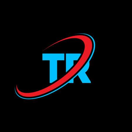 TR T R letter logo design. Initial letter TR linked circle uppercase monogram logo red and blue. TR logo, T R design. tr, t r