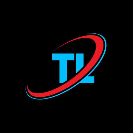 TL T L letter logo design. Initial letter TL linked circle uppercase monogram logo red and blue. TL logo, W L design. tl, t l