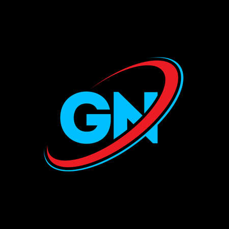 GN G N letter logo design. Initial letter GN linked circle uppercase monogram logo red and blue. GN logo, G N design. gn, g n Logó