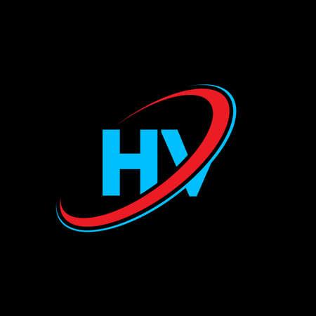 HV H V letter logo design. Initial letter HV linked circle uppercase monogram logo red and blue. HV logo, H V design. hv, h v