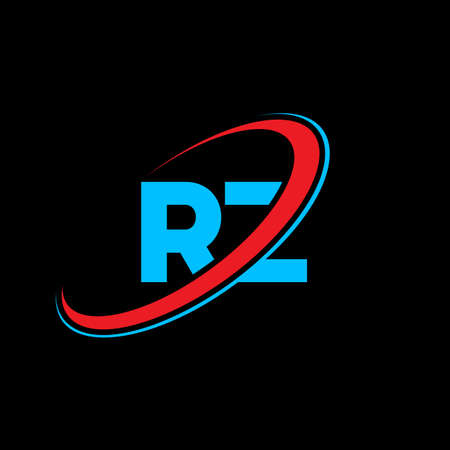 RZ R Z letter logo design. Initial letter RZ linked circle uppercase monogram logo red and blue. RZ logo, R Z design. rz, r z Logó