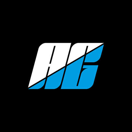 AG letter logo design on black background. AG creative initials letter logo concept. ag icon design. AG white and blue letter icon design on black background. A G