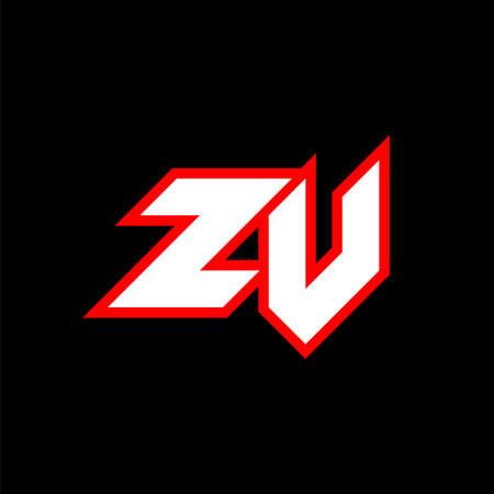 ZV logo design, initial ZV letter design with sci-fi style. ZV logo for game, esport, Technology, Digital, Community or Business. Z V sport modern Italic alphabet font. Typography urban style fonts.