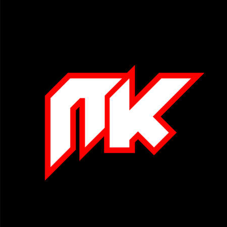 NK logo design, initial NK letter design with sci-fi style. NK logo for game, esport, Technology, Digital, Community or Business. N K sport modern Italic alphabet font. Typography urban style fonts.