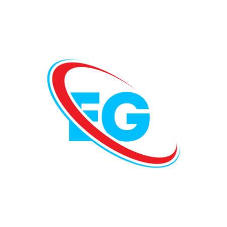 EG E G letter logo design. Initial letter EG linked circle uppercase monogram logo red and blue. EG logo, E G design Logó