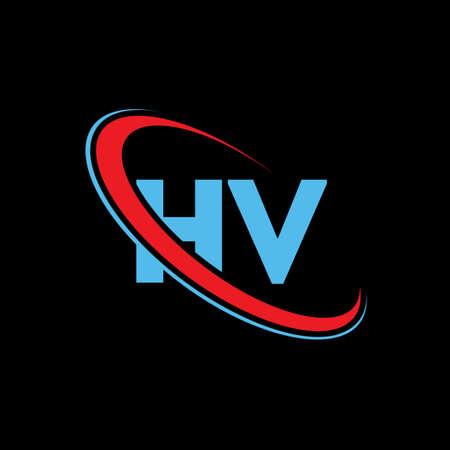 HV H V letter logo design. Initial letter HV linked circle upercase monogram logo red and blue. HV logo, H V design Logó