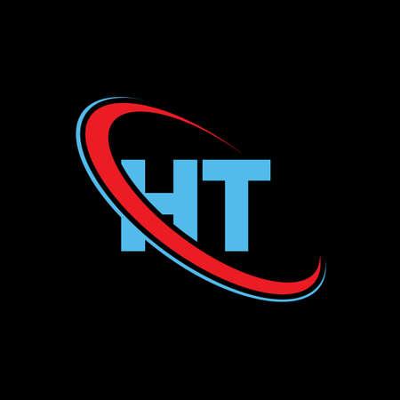 HT H T letter logo design. Initial letter HT linked circle upercase monogram logo red and blue. HT logo, H T design