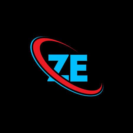ZE Z E letter logo design. Initial letter ZE linked circle uppercase monogram logo red and blue. ZE logo, Z E design. ze, z e Logo