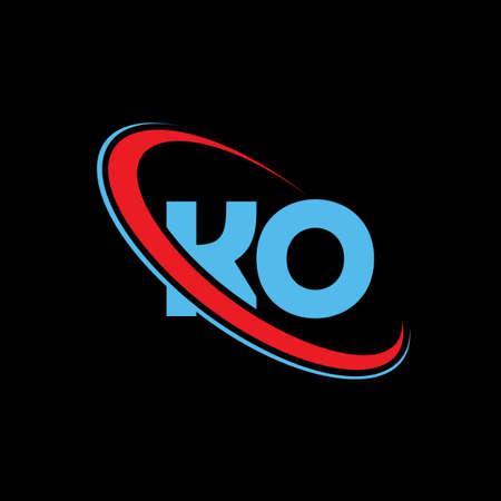 KO letter logo design. KO logo red and blue color.