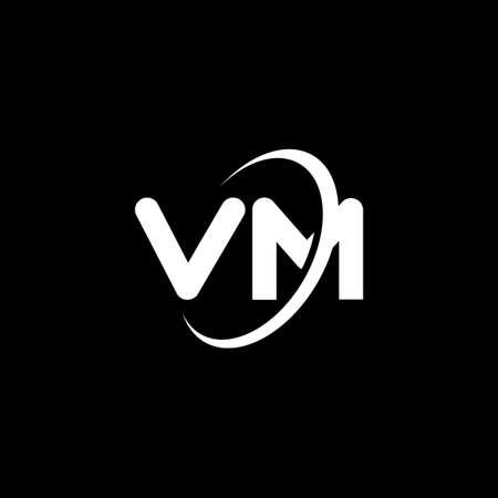 VM V M letter design. Initial letter VM linked circle uppercase monogram white color. VM, V M design. vm, v m Vektoros illusztráció