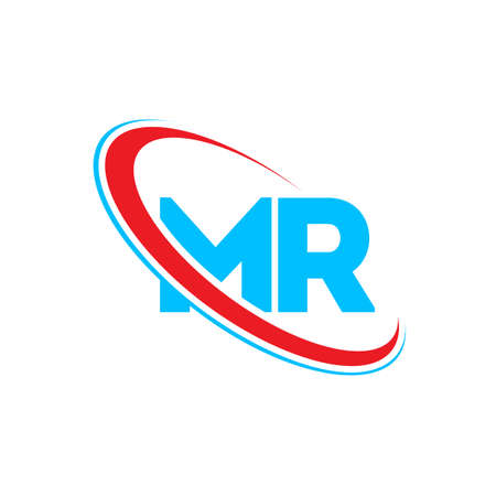 MR M R letter design. Initial letter MR linked circle monogram red and blue.
