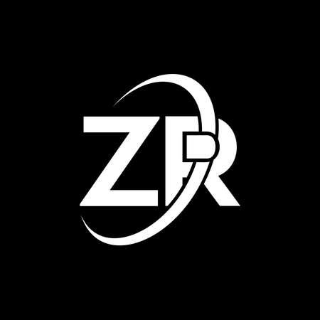 ZR Letter Design. Initial letters ZR icon. Abstract letter ZR Z R minimal design template. Z R Letter Design with black Colors. Vektoros illusztráció
