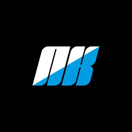 NK letter logo design on black background. NK creative initials letter logo concept. NK icon design. NK white and blue letter icon design on black background. N K Logó