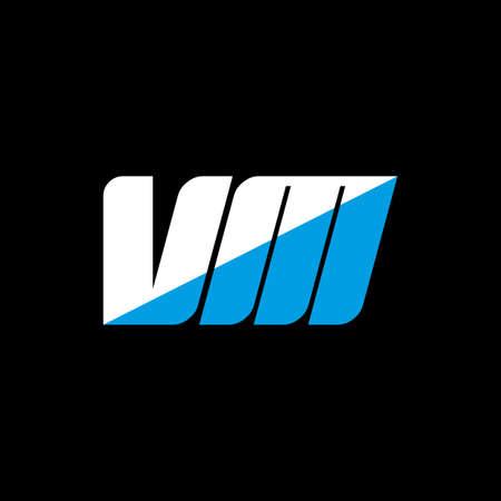 VM letter logo design on black background.