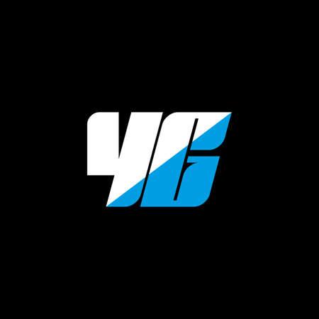 YG letter logo design on black background. YG creative initials letter logo concept. YG icon design. YG white and blue letter icon design on black background. Y G