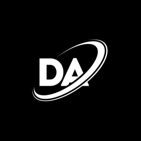 DA D A letter logo design. Initial letter DA linked circle uppercase monogram logo red and blue. DA logo, D A design. da, d a
