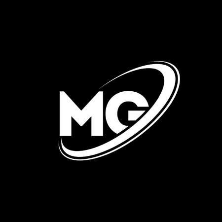 MG M G letter logo design. Initial letter MG linked circle uppercase monogram logo red and blue. MG logo, M G design. mg, m g