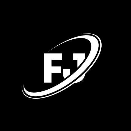 FJ F J letter logo design. Initial letter FJ linked circle uppercase monogram logo red and blue. FJ logo, F J design. fj, f j