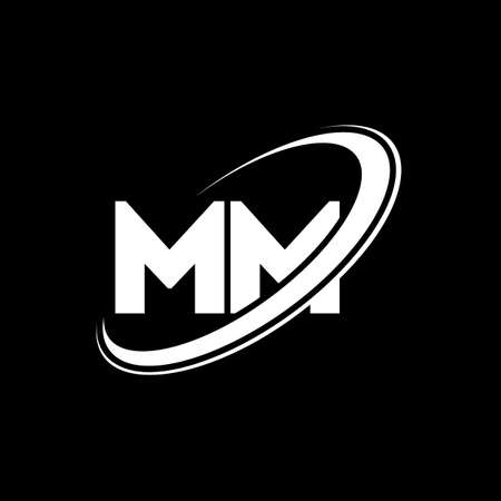 MM M M letter logo design. Initial letter MM linked circle uppercase monogram logo red and blue. MM logo, M M design. mm, m m