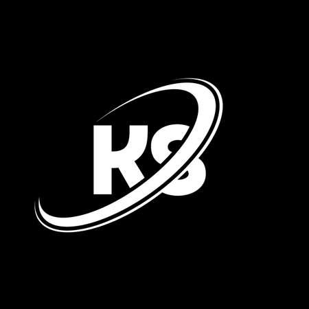 KS K S letter logo design. Initial letter KS linked circle uppercase monogram logo red and blue. KS logo, K S design. ks, k s
