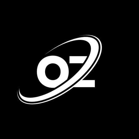 OZ O Z letter logo design. Initial letter OZ linked circle uppercase monogram logo red and blue. OZ logo, O Z design. oz, o z