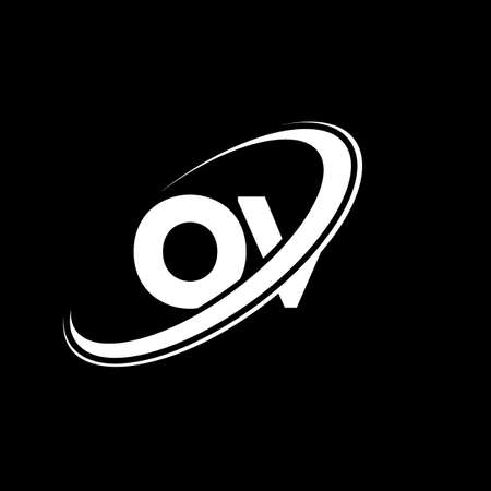 OV O V letter logo design. Initial letter OV linked circle uppercase monogram logo red and blue. OV logo, O V design. ov, o v