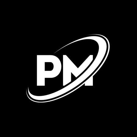 PM P M letter logo design. Initial letter PM linked circle uppercase monogram logo red and blue. PM logo, P M design. pm, p m