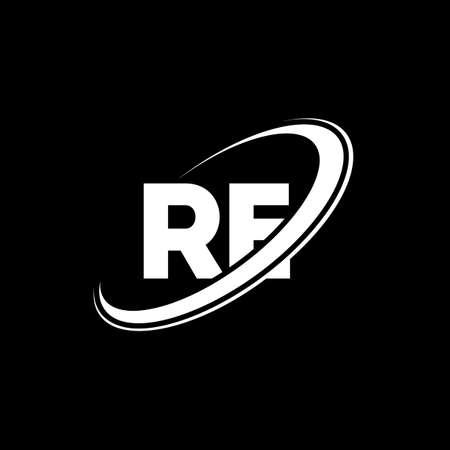RE R E letter logo design. Initial letter RE linked circle uppercase monogram logo red and blue. RE logo, R E design. re, r e