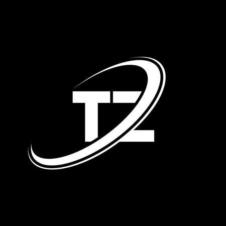 TZ T Z letter logo design. Initial letter TZ linked circle uppercase monogram logo red and blue. TZ logo, T Z design. tz, t z