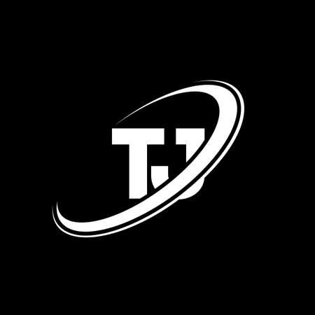 TJ T J letter logo design. Initial letter TJ linked circle uppercase monogram logo red and blue. TJ logo, T J design. tj, t j