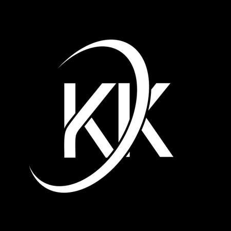 KK logo. K K design. White KK letter. KK/K K letter logo design. Initial letter KK linked circle uppercase monogram logo. Logó