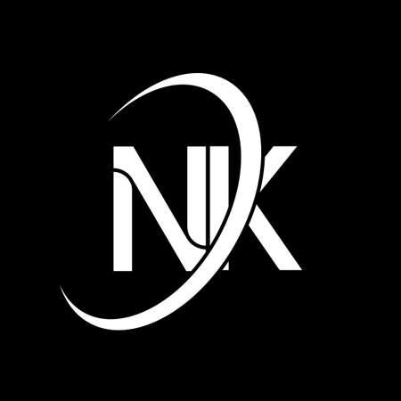 NK logo. N K design. White NK letter. NK/N K letter logo design. Initial letter NK linked circle uppercase monogram logo.