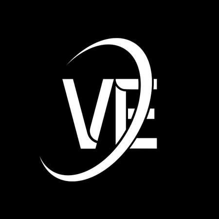 VE logo. V E design. White VE letter. VE/V E letter logo design. Initial letter VE linked circle uppercase monogram logo. Logó