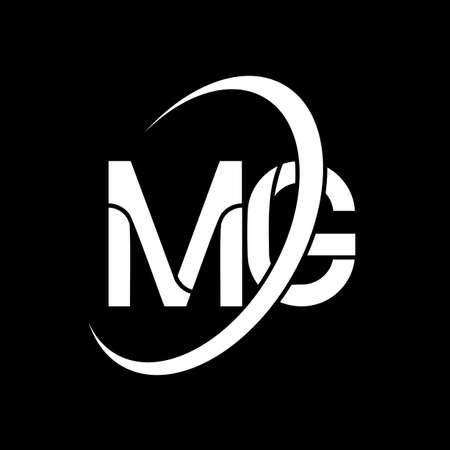 MG logo. M G design. White MG letter. MG/M G letter logo design. Initial letter MG linked circle uppercase monogram logo.