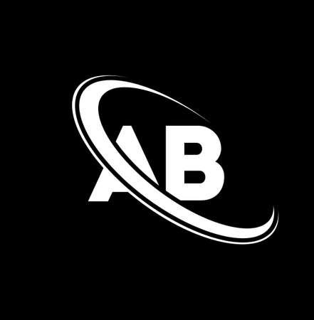 AB logo. A B design. White AB letter. AB/A B letter logo design. Initial letter AB linked circle uppercase monogram logo. Logo