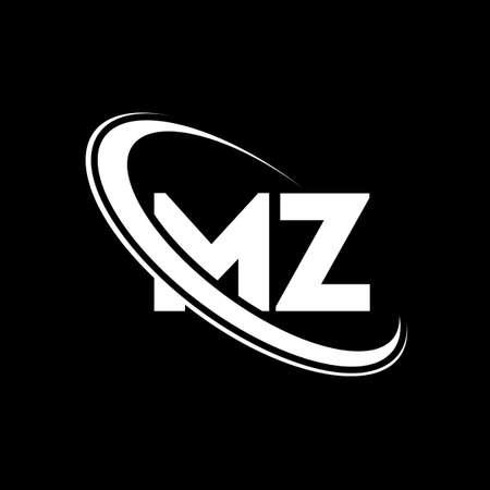 MZ logo. M Z design. White MZ letter. MZ/M Z letter logo design. Initial letter MZ linked circle uppercase monogram logo.