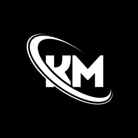 KM logo. K M design. White KM letter. KM/K M letter logo design. Initial letter KM linked circle uppercase monogram logo.