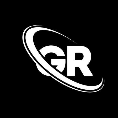GR logo. G R design. White GR letter. GR/G R letter logo design. Initial letter GR linked circle uppercase monogram logo.