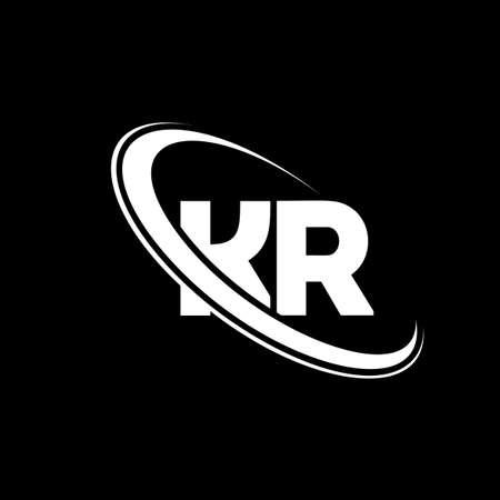 KR logo. K R design. White KR letter. KR/K R letter logo design. Initial letter KR linked circle uppercase monogram logo. Logó