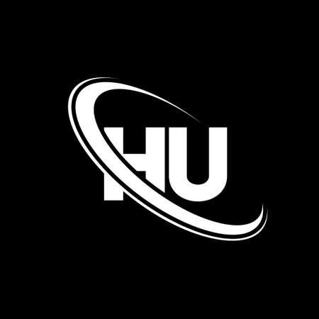 HU logo. H U design. White HU letter. HU/H U letter logo design. Initial letter HU linked circle uppercase monogram logo.