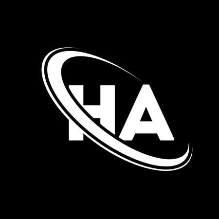 HA logo. H A design. White HA letter. HA/H A letter logo design. Initial letter HA linked circle uppercase monogram logo.
