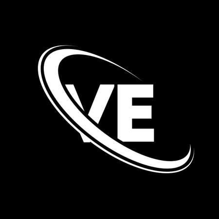 VE logo. V E design. White VE letter. VE/V E letter logo design. Initial letter VE linked circle uppercase monogram logo.