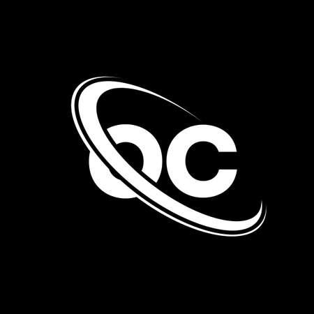 OC logo. O C design. White OC letter. OC/O C letter logo design. Initial letter OC linked circle uppercase monogram logo.  Ilustração
