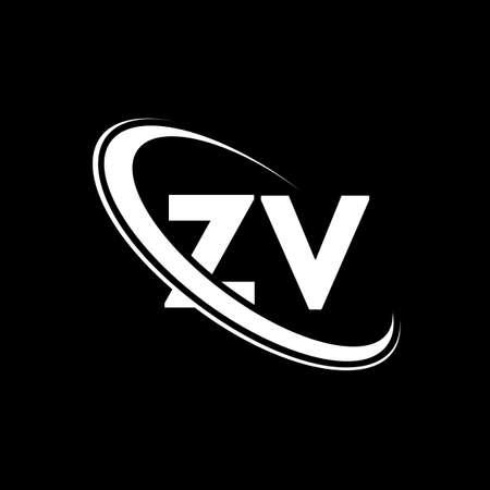 ZV logo. Z V design. White ZV letter. ZV/Z V letter logo design. Initial letter ZV linked circle uppercase monogram logo.
