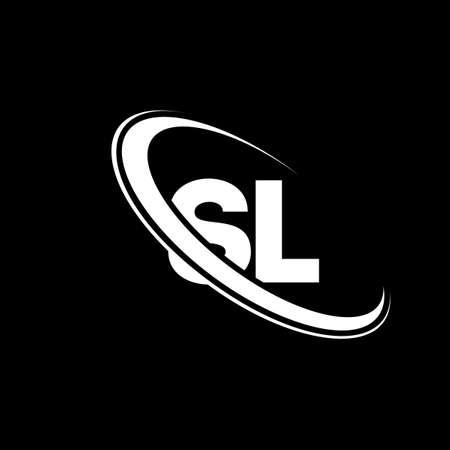 SL logo. S L design. White SL letter. SL/S L letter logo design. Initial letter SL linked circle uppercase monogram logo.