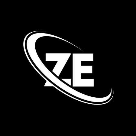 ZE logo. Z E design. White ZE letter. ZE/Z E letter logo design. Initial letter ZE linked circle uppercase monogram logo.